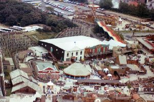 Aerial view showing Frontierland, Morecambe. taken 1990's. from LEP archives