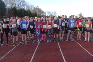 Runners at the starting line of the Christmas Cracker race.