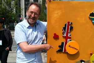 Garstangs Fairtrade pioneer and the founder of Fair Trade Towns Bruce Crowther MBE visiting Seoul South Korea in 2013 for the launch of the Fair Trade City campaign