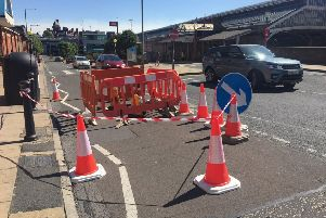 The hole cordoned off in Butler Street - Photo Lancashire County Council