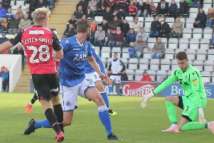 A-Jay Leitch-Smith scores Morecambe's opening goal against Macclesfield Town last weekend