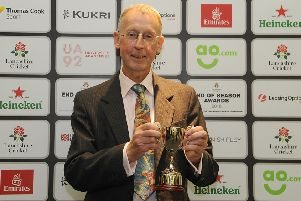 Peter McDermid picks up his award at Old Trafford on Friday night
