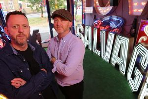The presenters of Salvage Hunters, including Drew Pritchard, right