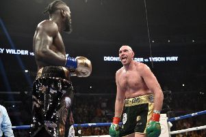 Tyson Fury takes on Deontay Wilder during the WBC Heavyweight Championship bout at the Staples Center in Los Angeles.