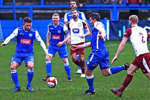 Lancaster City on the attack against South Shields. Picture: Tony North.