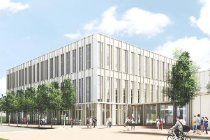 A computer generated image of what the finished building may look like.