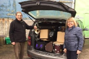 Instruments collected by Morecambe Brass Band were sent to Africa.