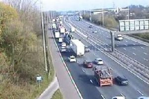 The outside lane of the M6 southbound has been closed between junctions J31A and J31 in Preston after a collision during morning rush hour.