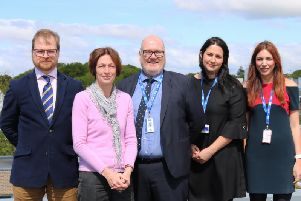 L-R: Dr Alex Belton (Head of Mathematics and Statistics at Lancaster University), Professor Sharon Huttly (Pro Vice-Chancellor for Education at Lancaster University), Nick Burnham (Principal of Cardinal Newman College), Katie OReilly (Vice-Principal at Cardinal Newman College), Vicky Bryant (Vice Principal of Cardinal Newman College)