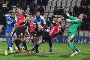 Kevin Ellison scores one of his four late goals this season during November's draw with Notts County at the Globe Arena