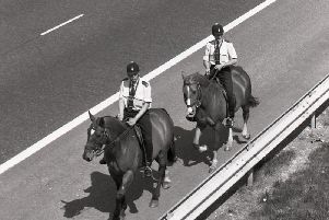 PC Alan Whitefoot and PC Philip Walsh, on horseback, searching the M55 for a lost lizard which a driver reported to police after he ran over it