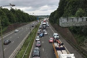 Traffic queuing on the northbound M6 at Standish after a lorry jackknifed 6 miles away in Orrell, Wigan.