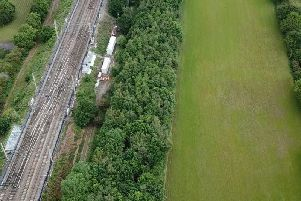 Aerial view of Acton Grange junction on the West Coast Main Line