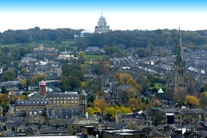 View of the Lancaster skyline taken from the Norman Keep in Lancaster Castle.