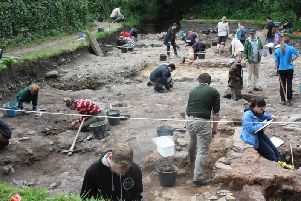 Students at work at the Ribchester Revisited archaeological dig 2019
