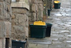 Recycling bins in Lancaster.