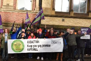 Addaction staff on the picket line