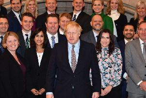 James Grundy (fourth from right, back row) with other new Tory MPs