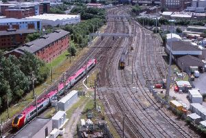 View from the base of St Walburges church steeple, looking down on Fylde Junction and the northern exit from Preston station in July 2009. This area was the site of the old Preston steam loco shed which was destroyed by fire in 1961