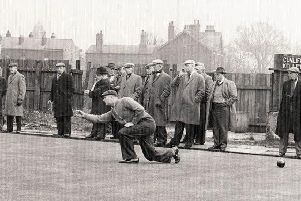 Jim Cunliffe heads for another win at the Red Lion in a 1950s panel match
