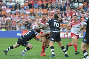 Leigh in action against Toronto. Photo: Paul McCarthy