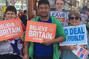 Brexiteers taking part in the latest demo in the borough