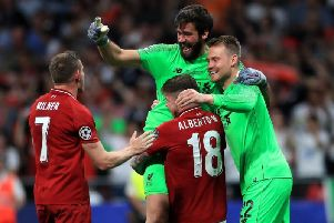 Liverpool players celebrate their Champions League victory