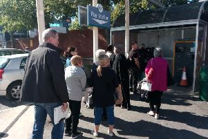 Shoppers have been queuing at the new cash-less pay machines at Fishergate Centre car park today (September 20)