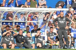 Preston manager Alex Neil watches on the technical area at Birmingham