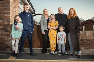 The Sumner family with Stacey'Photo: UKTV/Jon Hall
