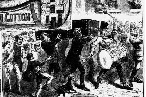 Why was a coffin on parade in 1872?