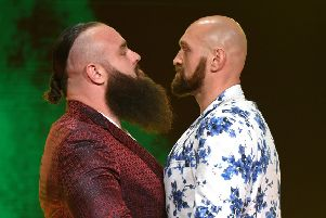 WWE wrestler Braun Strowman (left) and heavyweight boxer Tyson Fury face off (Getty Images)