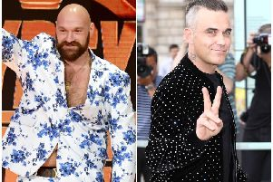 Left, Tyson Fury (Ethan Miller), right, Robbie Williams (Phot credit: John Phillips / Stringer)