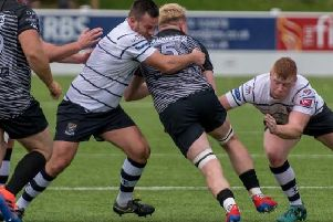 Match action from Preston Grasshoppers clash against Wharfedale''Photo: Mike Craig