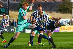 Courtney Meppen-Walter in action against Spennymoor Town in FA Cup on Saturday
