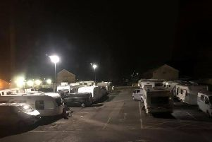 Travellers moved onto Booths car park in Longridge yesterday evening (October 22)