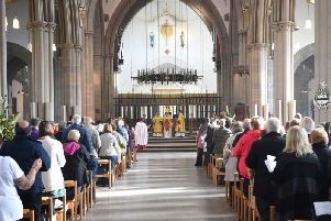 The scene in the busy cathedral during the Festival of Baptism