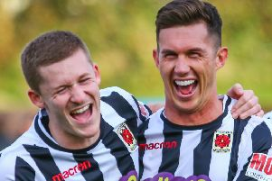 Matt Challoner and Mark Ross celebrate  after the  cup win over Spennymoor (photo: Stefan Willoughby)