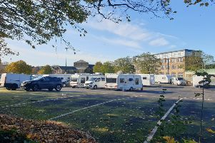 Travellers parked at the car park in Edward Street, Lancaster.