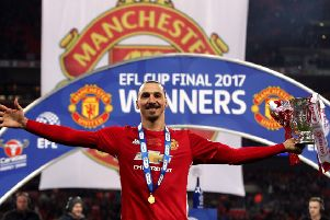 Ibrahimovic at Wembley in 2017 after United's League Cup final win against Southampton