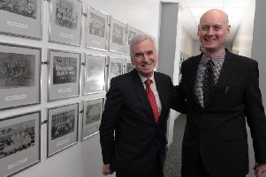 Council leader coun Matthew Brown (r) with shadow chancellor John McDonnell, who was on a visit to Deepdale