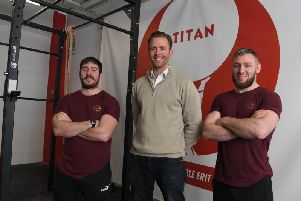 Daniel McKeown, Andrew Forster and Tiarnan Carlin at Titan Strength Academy