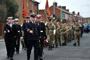 A Remembrance Day parade in Lostock Hall in 2016.