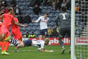Alan Browne scores Preston's second goal in the 3-1 win over Huddersfield at Deepdale