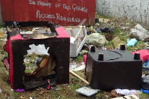 Fly-tipping near Norbreck Drive, Preston, in February 2017