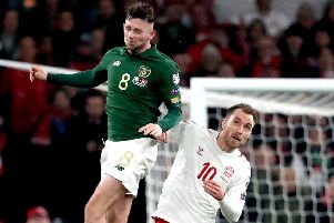 Alan Browne beats Spurs' Christian Eriksen to the ball during Monday's 1-1 draw with Denmark