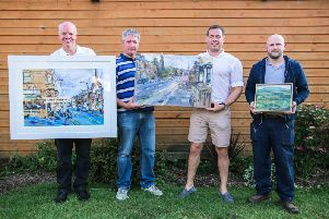 David Youds, pictured far right,  with his 'Bowland View' painting at this year's Create Longridge  (Photo:Sarah Valentine Photography)