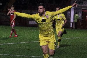 Cole Stockton celebrates his late equaliser which earned a 1-1 draw at Crawley Town last weekend