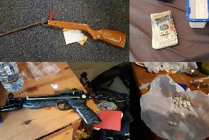 Air rifle, crossbow, drugs and cash seized in Lancaster and Heysham police raids