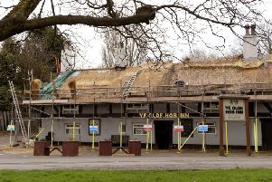 Work to replace the thatched roof earlier this year